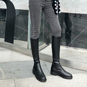 Flat Shoes Closed Toe Mid Calf Boots Leather Black Riding Boot