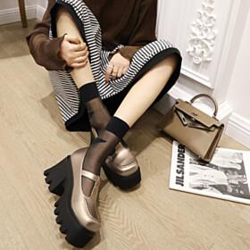 Platform Heel 3 inch High Heel Closed Toe Fashion Metallic Block Heels Mary Janes