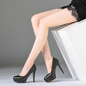 Red Bottoms Slip On Grained Shoes Leather Classic Black Round Toe Stilettos