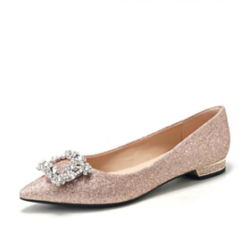 Wedding Shoes For Women Sparkly Flats Comfort Rose Gold Ballerina Pointed Toe Party Shoes Crystal
