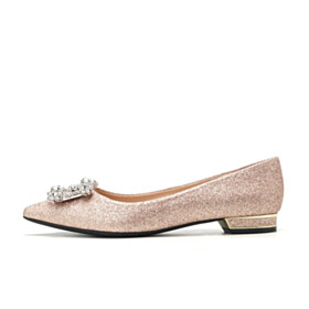 Ballerinas Wedding Shoes Glitter Slip On With Crystal Flat Shoes Comfort Sparkly