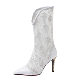 White Ankle Boots Sandal Boots Flowers Wooden Heel 3 inch High Heel Sexy Leather