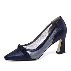 3 inch High Heel Dark Blue Chunky Pumps Clear Leather Pointed Toe Business Casual