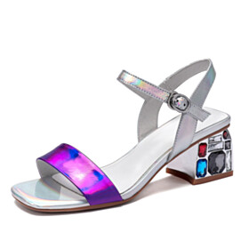Block Heel Mid High Heeled With Crystal Chunky Silver Sparkly Sandals For Women Peep Toe 2021