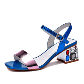 Royal Blue With Crystal Sandals Sparkly Fashion Mid Heels Thick Heel Block Heels Evening Party Shoes