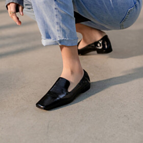 Leather Business Casual Loafers Comfort Black Flats Spring