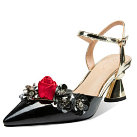 Dress Shoes 7 cm Heel With Ankle Strap Designer With Flower Natural Leather Metallic Pointed Toe Elegant Chunky Hee Black Sandals
