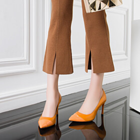 Pumps Slip On Orange 3 inch High Heeled Womens Shoes Stiletto Beautiful Full Grain Business Casual Shoes