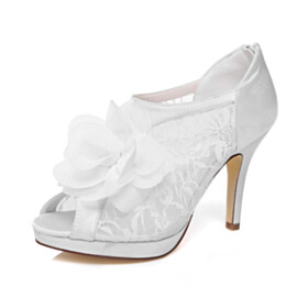 Lace Peep Toe Bridal Shoes White 10 cm High Heel Satin