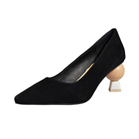 Chunky Going Out Shoes Slip On Suede Pointed Toe Black Womens Footwear Pumps Fashion Comfort 2020 Mid Heels