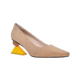 Leather Fashion Pointed Toe Mid High Heeled Comfort Geometric Print