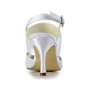 Slingbacks Wedding Shoes For Women Sandals For Women Pointed Toe White Stiletto 3 inch High Heeled
