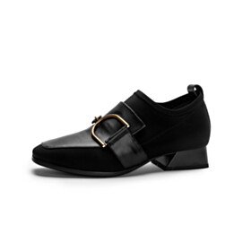 Classic Stretchy Black Shoes Low Heel Comfort Loafers