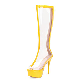 Going Out Shoes Peep Toe Platform Yellow Knee High Boots Sandal Boots 5 inch High Heeled Fashion