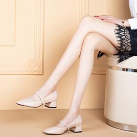 Pearls Comfortable Nude Ankle Strap Pumps Block Heels Spring Low Heel Chunky Heel Classic