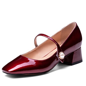 With Pearl Classic Chunky Hee Pumps Block Heel Ankle Strap Low Heel Burgundy