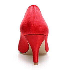 Wedding Shoes For Women Stilettos Dress Shoes Mid High Heeled Red Spring Closed Toe Pointed Toe Pumps