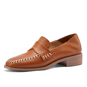 Comfort Brown Flat Shoes Loafers Leather Closed Toe