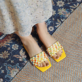 Cute Sandals Beach Yellow Slip On Flat Shoes With Flower