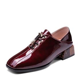 Thick Heel Wooden Heel Classic Dress Shoes Burgundy 1 inch Low Heel Block Heels Beautiful