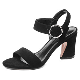 Classic Chunky Hee Suede Block Heels Sandals With Ankle Strap Black 6 cm Heeled