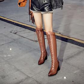 Knee High Boots 7 cm Mid Heels Brown Classic Winter