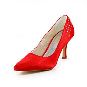 Satin 8 cm High Heel Bridal Shoes Elegant Pointed Toe Rhinestones Pumps