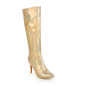 Gold Closed Toe Comfort High Heel Knee High Boot Going Out Footwear