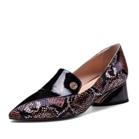Block Heels Snake Printed Chunky Heel Loafers 4 cm Low Heel Beautiful