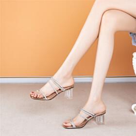 6 cm Mid Heel Champagne Sparkly Strappy Chunky Metallic Mules Sandals Peep Toe Block Heel