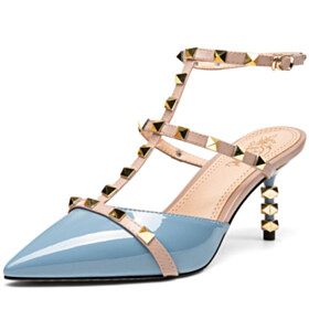 Party Shoes Classic Modern 7 cm Heeled Sky Blue Ankle Strap Studded Stilettos Sandals Pointed Toe Gladiator Sexy