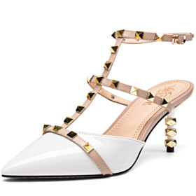 White Gladiator Ankle Strap Studded Fashion 7 cm Mid Heel Stiletto Classic Pointed Toe Sexy Leather Womens Sandals