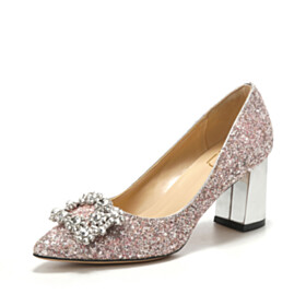 Pumps Sparkly Womens Footwear With Rhinestones Sequin 7 cm Heeled Pointed Toe Block Heels Wedding Shoes For Women
