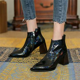 Gradient Block Heel Ankle Boots Chunky Modern Black Pointed Toe 7 cm Mid Heel