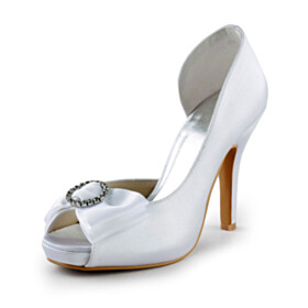 Beautiful White Bridals Wedding Shoes Dress Shoes 4 inch High Heel Pumps Peep Toe