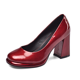 8 cm High Heel Shoes Business Casual Shoes Leather Red Elegant Classic Block Heel Pumps