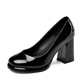 Black Leather Pumps 2021 3 inch High Heel Round Toe Business Casual Classic Chunky Block Heels