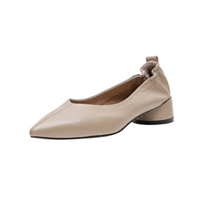 Shoes Low Heel Loafers Fashion Leather Chunky Heel Pointed Toe