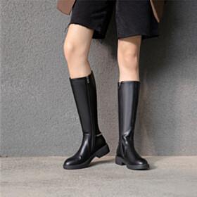 Boots Vintage Round Toe Riding Fashion Black