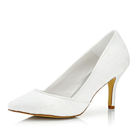 Wedding Shoes For Women 3 inch High Heeled White Pumps Pointed Toe