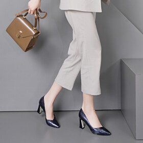Spring Crocodile Printed Dark Blue Pumps 3 inch High Heeled Business Casual Fashion Pointed Toe