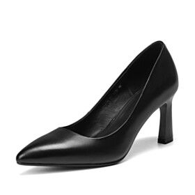 Classic Black 7 cm Mid Heels Pumps Slip On Pointed Toe Leather Stiletto Office Shoes