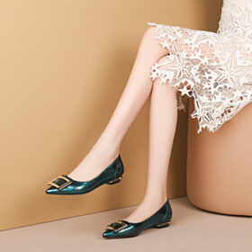 Business Casual Shoes Flat Shoes Ballerina Fashion Dark Green
