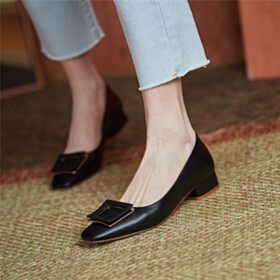 Loafers Low Heeled Comfort Block Heels Leather Shoes Square Toe