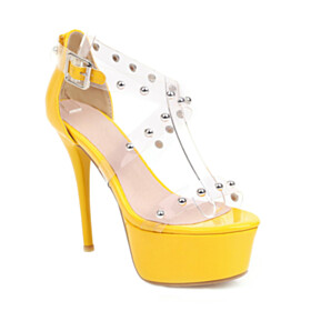Platform 5 inch High Heeled Peep Toe Shoes For Women Clear Sexy Yellow Pearl Sandals