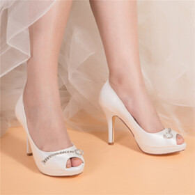 Womens Shoes Wedding Shoes For Women Dress Shoes Open Toe High Heels Ivory Pumps