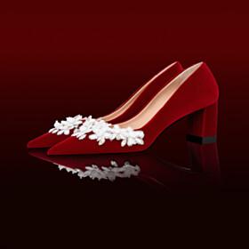 Velvet Pumps Pointed Toe Block Heels 3 inch High Heel Flowers Burgundy Elegant Wedding Shoes For Women Chunky Heel