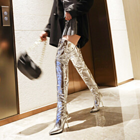 Zip Up 9 cm High Heels Stiletto Silver Over The Knee Boots Classic Pointed Toe