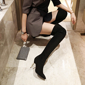 Stiletto Faux Leather Black Pointed Toe Over The Knee Boots Tall Boots 3 inch High Heeled Classic Sock