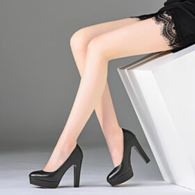 Red Bottoms Black Thick Heel Leather Pumps Classic Shoes Office Shoes High Heel Full Grain Round Toe